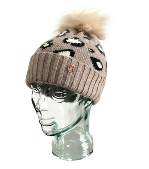 LIMITED EDITION Leopard Luxe Cashmere Pom Pom Beanie Hat