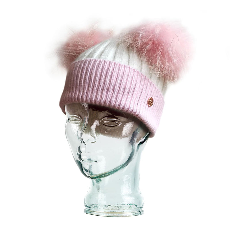 Adult Pink & White Cashmere Double Pom Pom Beanie Hat