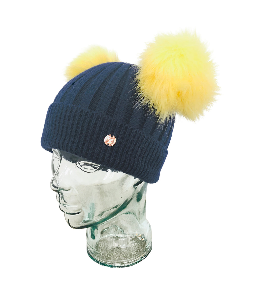 Navy and Yellow Cashmere Double Pom Pom Beanie Hat