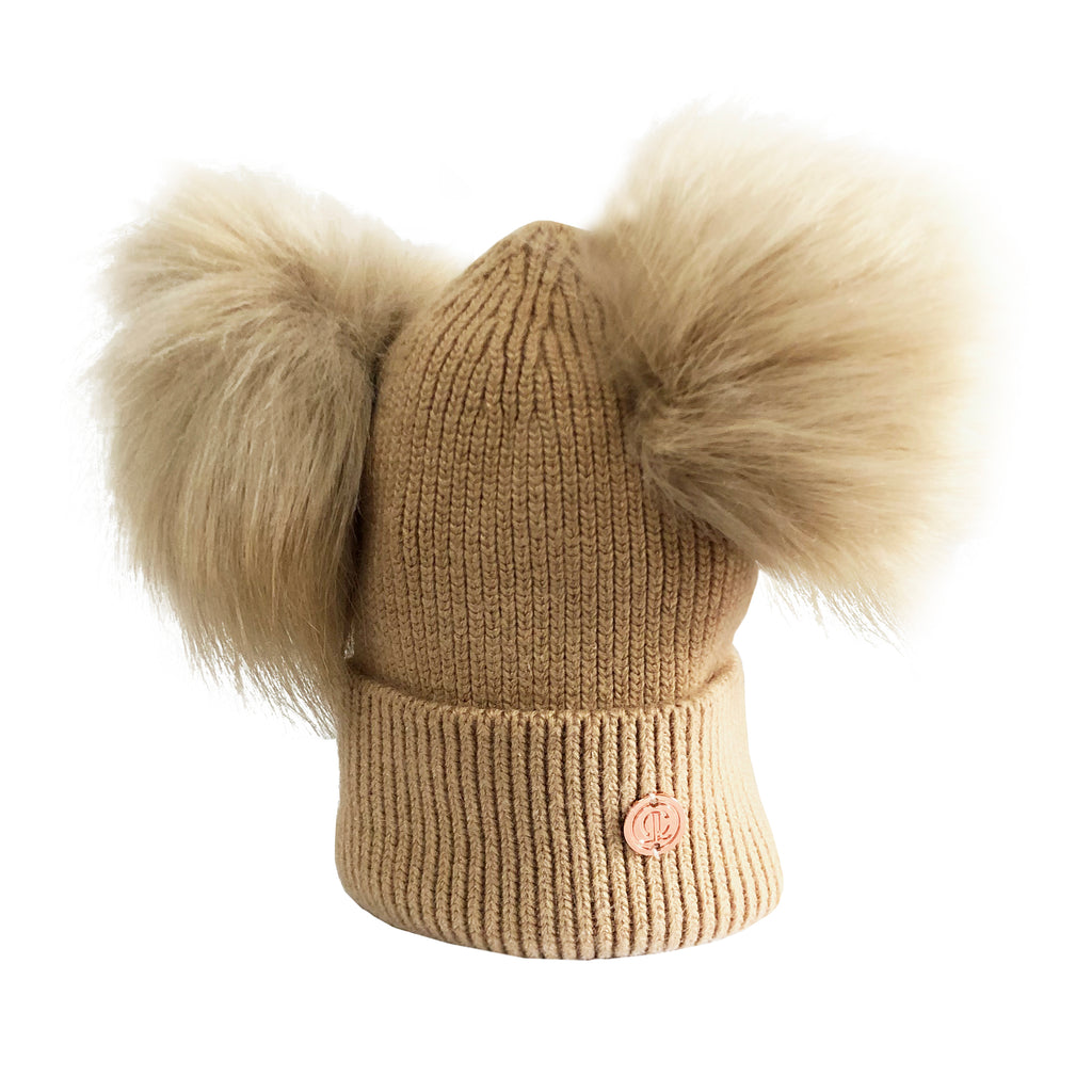 Mummy & Me matching Camel Luxe Cashmere Pom Pom Hats