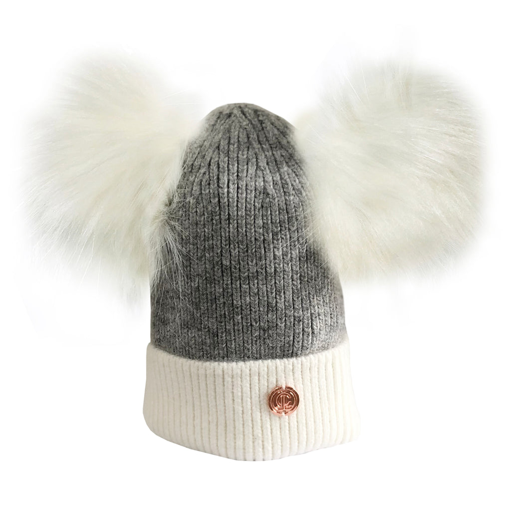 Newborn Grey & White Cashmere Double Pom Pom Beanie Hat