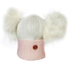 Newborn Pink and White Cashmere Double Pom Pom Beanie Hat with White Poms