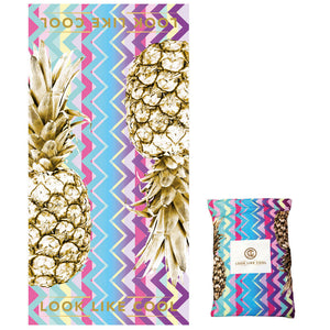 Recycled Plastic Gold Pineapple Compact, Sand Free, Fast Drying Beach/Travel Towel-'Unicorn Chevron'