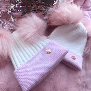 Mummy & Me matching Pink and White Cashmere Pom Pom Hats