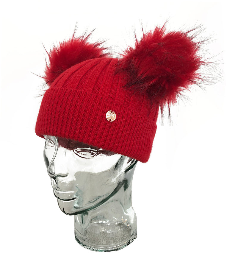 Red Cashmere Double Pom Pom Beanie Hat
