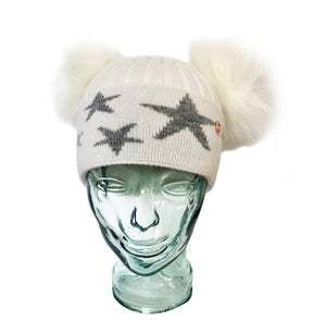 'Little Stars' White & Grey Cashmere Double Pom Pom Beanie Hat