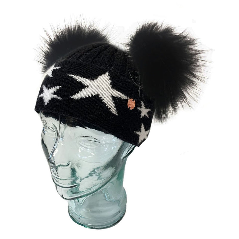 'Little Stars' Black Cashmere Double Pom Pom Beanie Hat