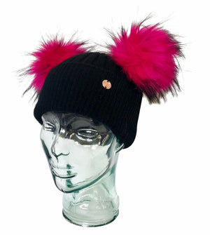 Adult Black and Electric Pink Cashmere Double Pom Pom Beanie Hat