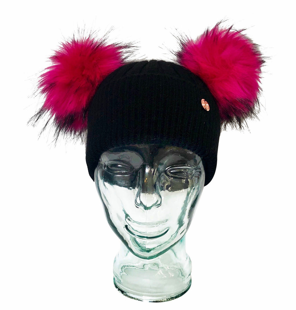 Black and Electric Pink Cashmere Double Pom Pom Beanie Hat