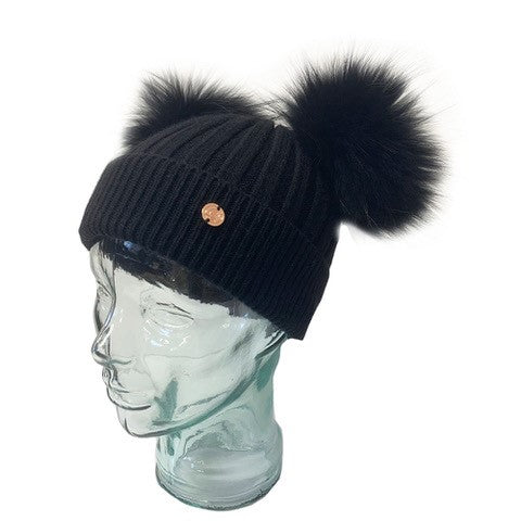 Adult Black Cashmere Double Pom Pom Beanie Hat