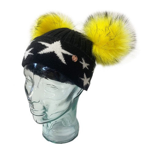 'Little Stars' Black & Canary Cashmere Double Pom Pom Beanie Hat