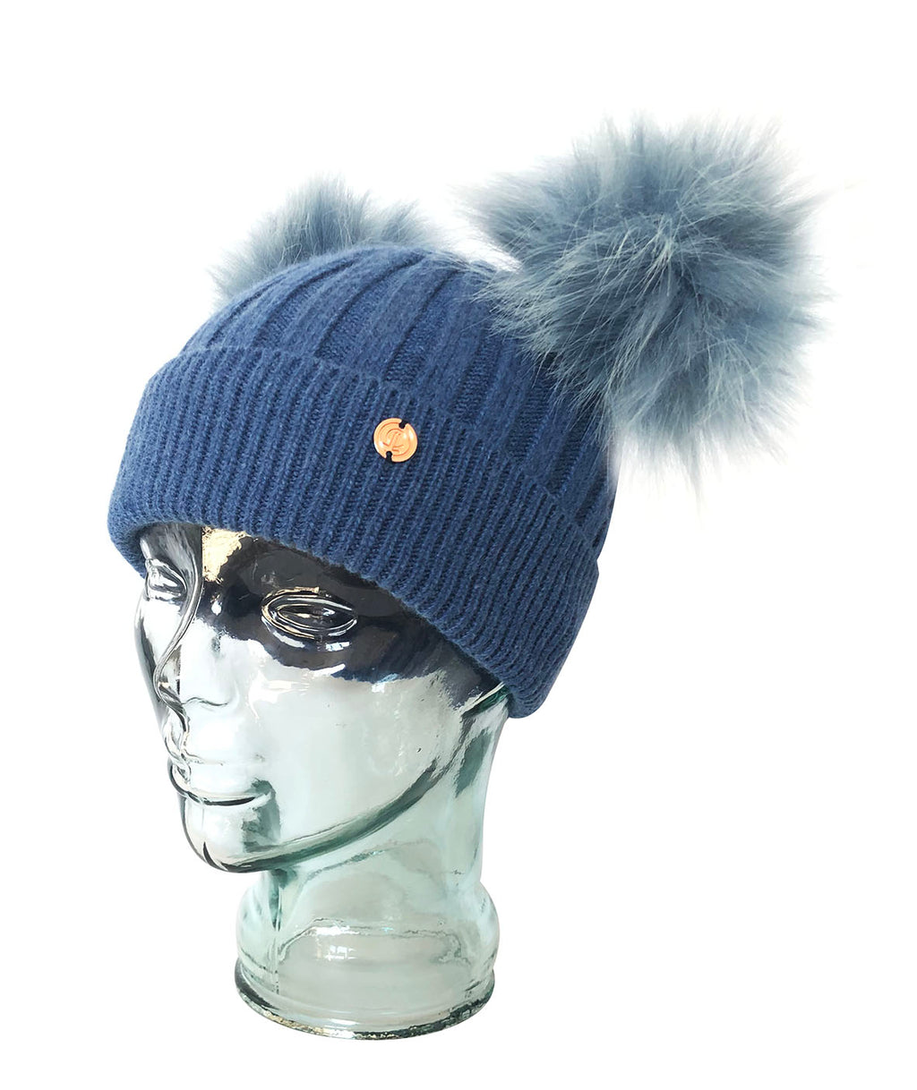 Denim Blue Cashmere Double Pom Pom Beanie Hat with Blue Poms