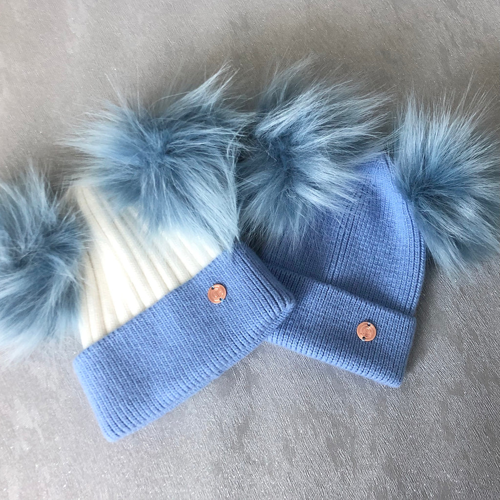 Mummy & Me matching Baby Blue and White Cashmere Pom Pom Hats