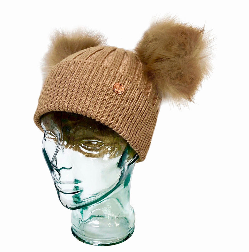 Camel Luxe Cashmere Double Pom Pom Beanie Hat