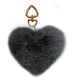 Luxury Grey Heart Shaped Key Ring or Bag Charm
