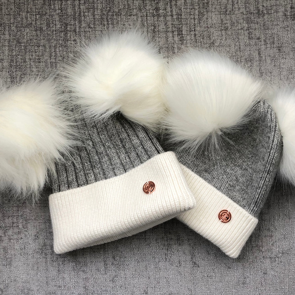 Mummy & Me matching Grey and White Cashmere Pom Pom Hats