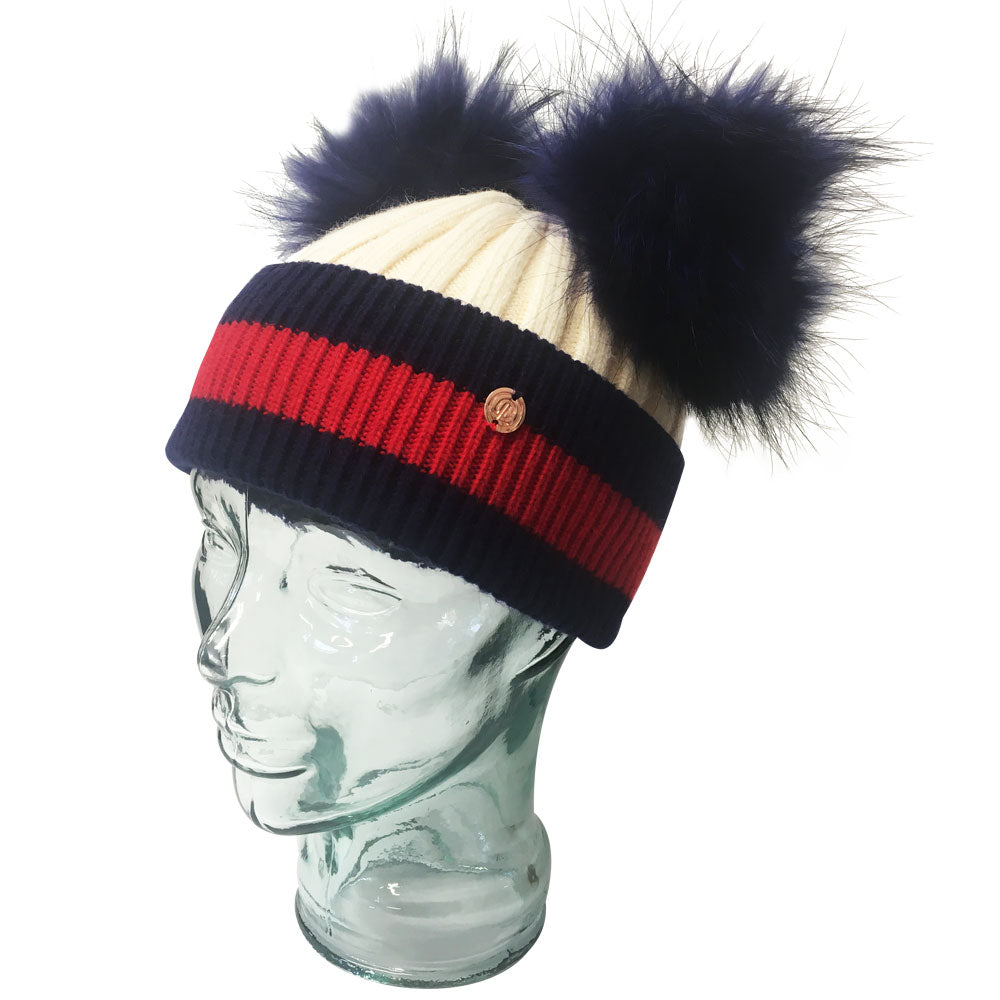 'Stripes' Cream & Navy Cashmere Double Pom Pom Beanie Hat