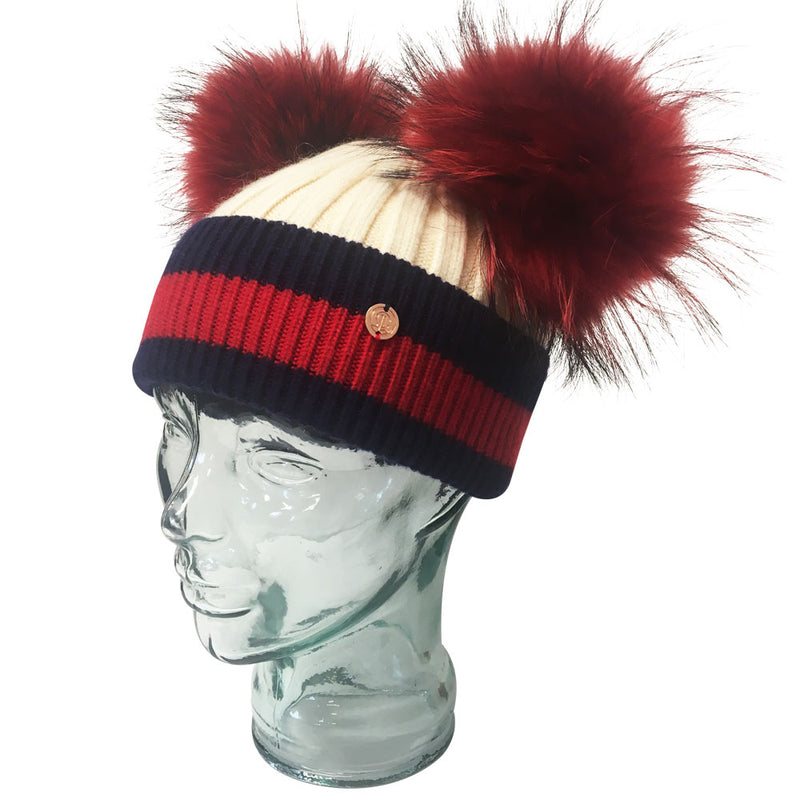 'Stripes' Cream & Red Cashmere Double Pom Pom Beanie Hat