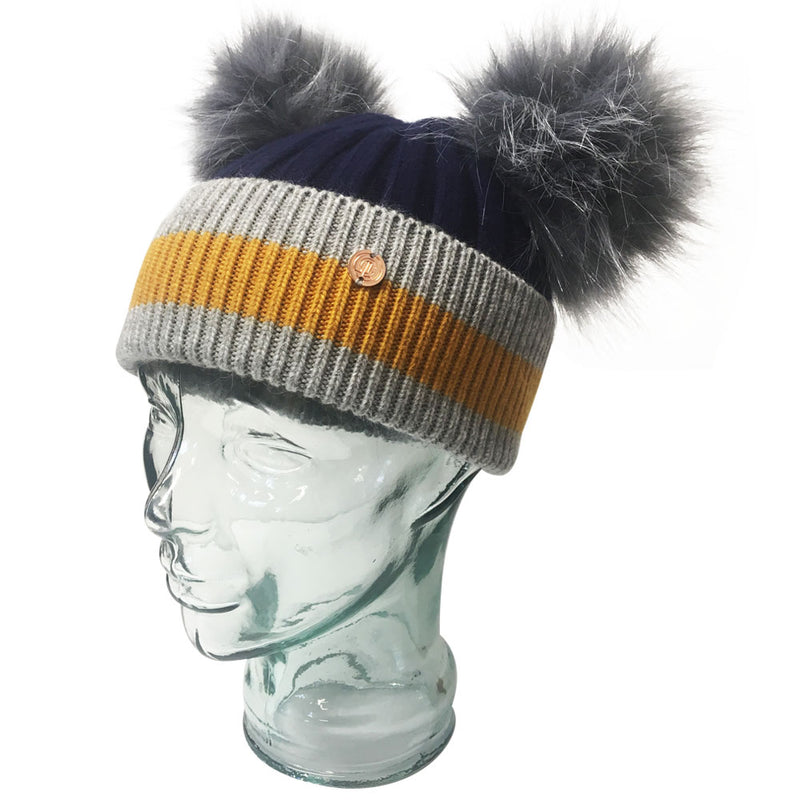 'Say It With Stripes' Navy & Grey Cashmere Double Pom Pom Beanie Hat