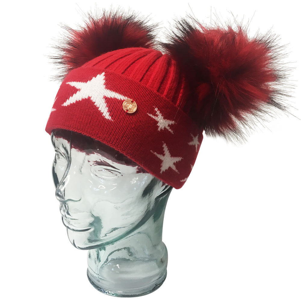 'Little Stars' Red Cashmere Double Pom Pom Beanie Hat