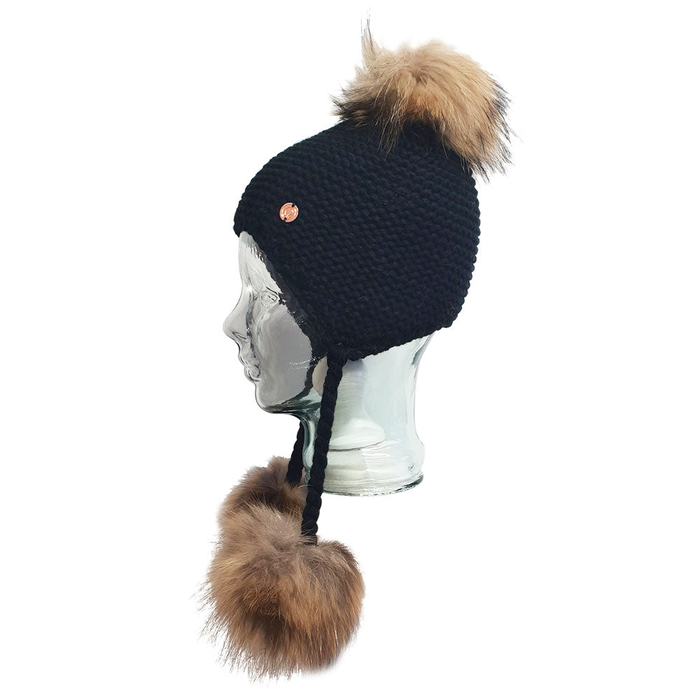 Triple Pom Pom Hat with Tassels- Black
