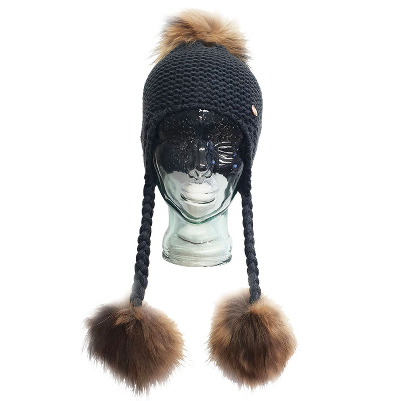 Triple Pom Pom Hat with Tassels- Cobalt Grey