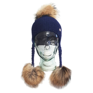 Triple Pom Pom Hat with Tassels- Navy