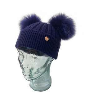 Adult Navy Cashmere Double Pom Pom Beanie Hat