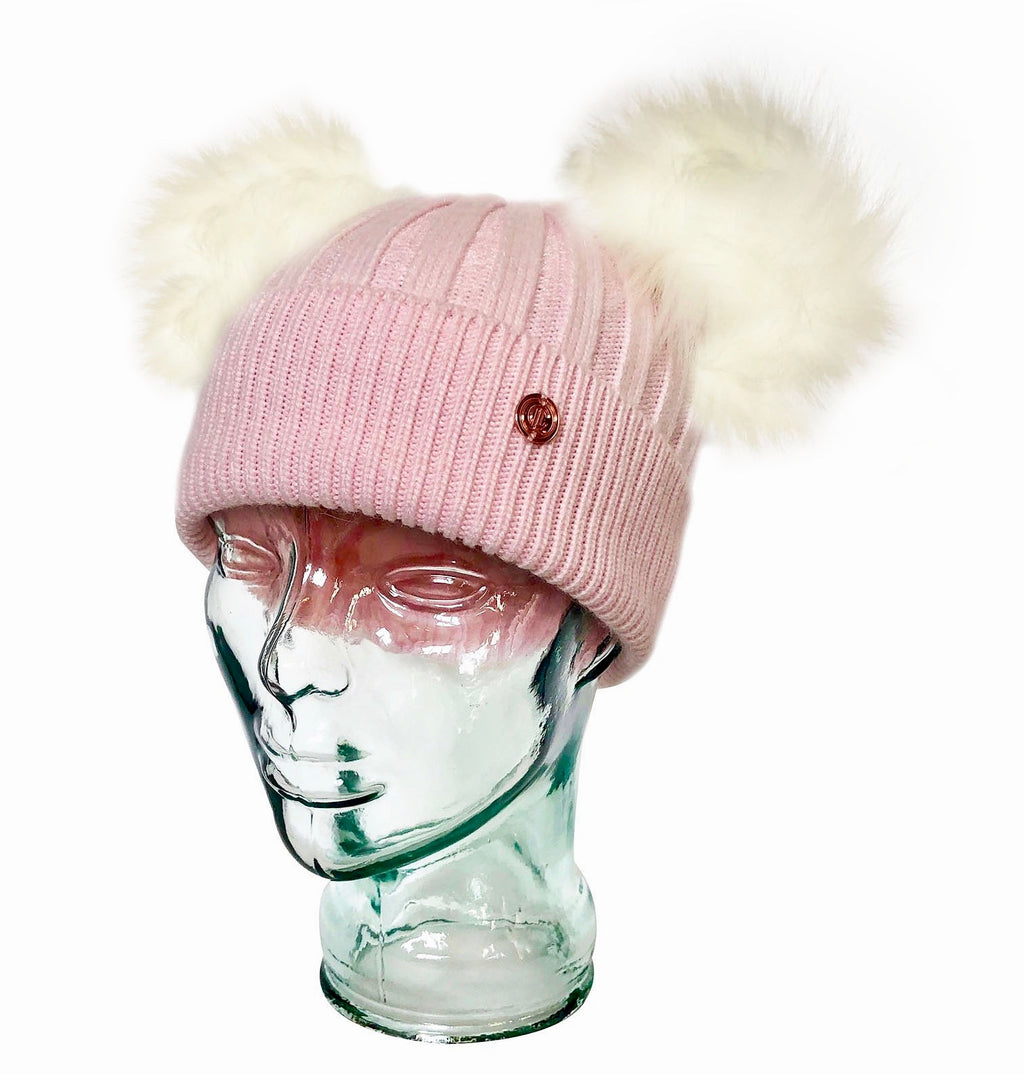 Strawberry & Cream Cashmere Double Pom Pom Beanie Hat