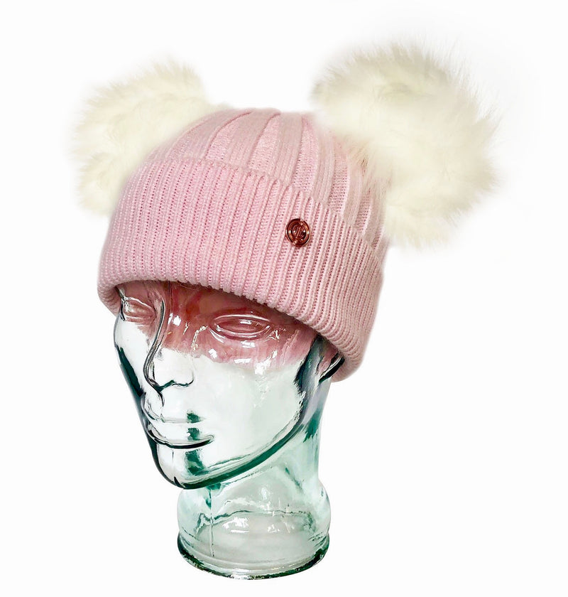 Adult Strawberry & Cream Cashmere Double Pom Pom Beanie Hat