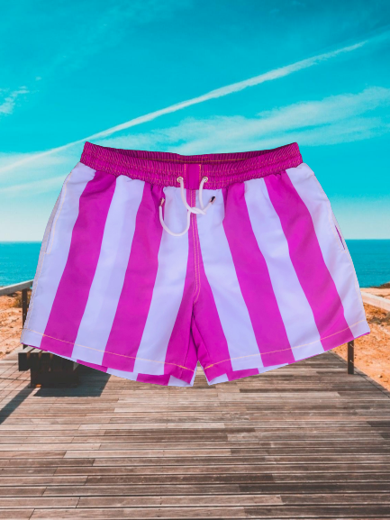 Summer Pink Stripe Recycled Plastic Quick Dry Swim Shorts
