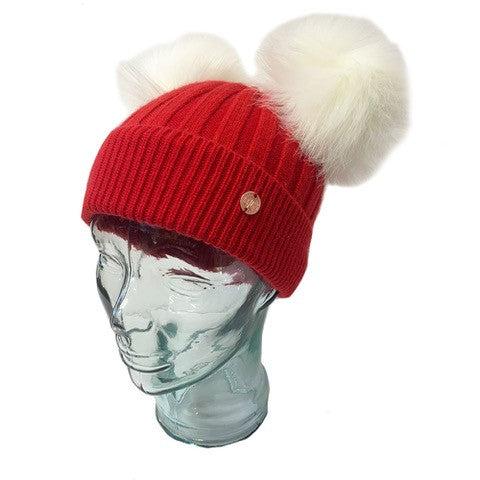 Red & White Cashmere Double Pom Pom Beanie Hat