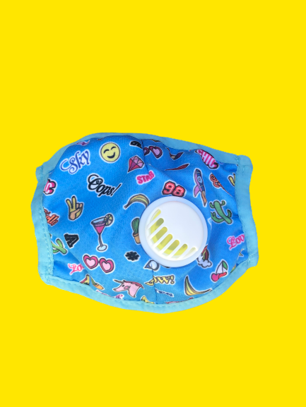 Kids Breathable Blue Retro Mask with Filter