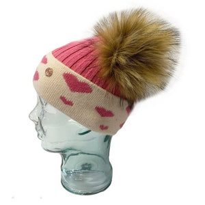 'In Love With LLC' Strawberry Pink Hearts Cashmere Double Pom Pom Beanie Hat