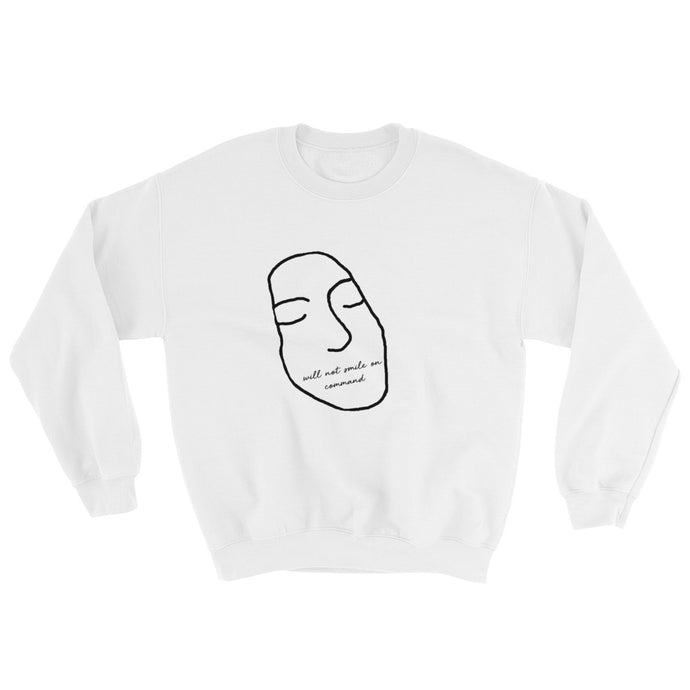 WILL NOT SMILE ON COMMAND - Sweatshirt white | Feminism | SAMA Apparel