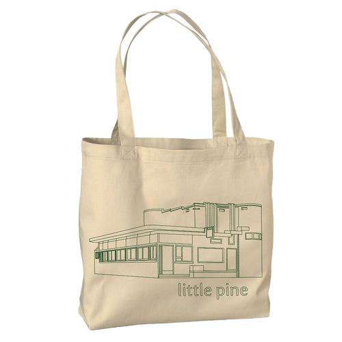 little pine outline cotton tote