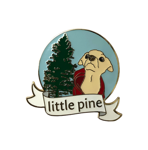 little pine dog enamel pin