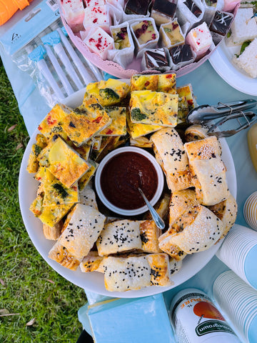 Frittata and sausage rolls
