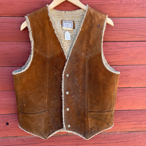 Vintage Brown Suede/Shearling Lined Vest