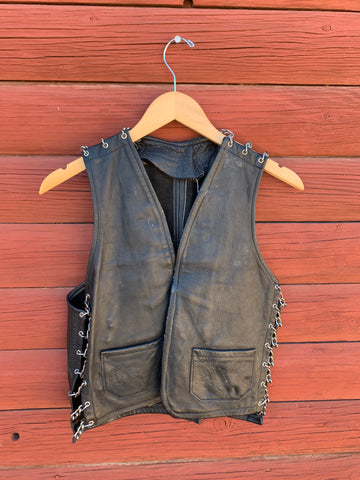 Vintage Black Leather and Chains Vest