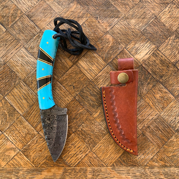 Turquoise Damascus Fixed Blade Knife