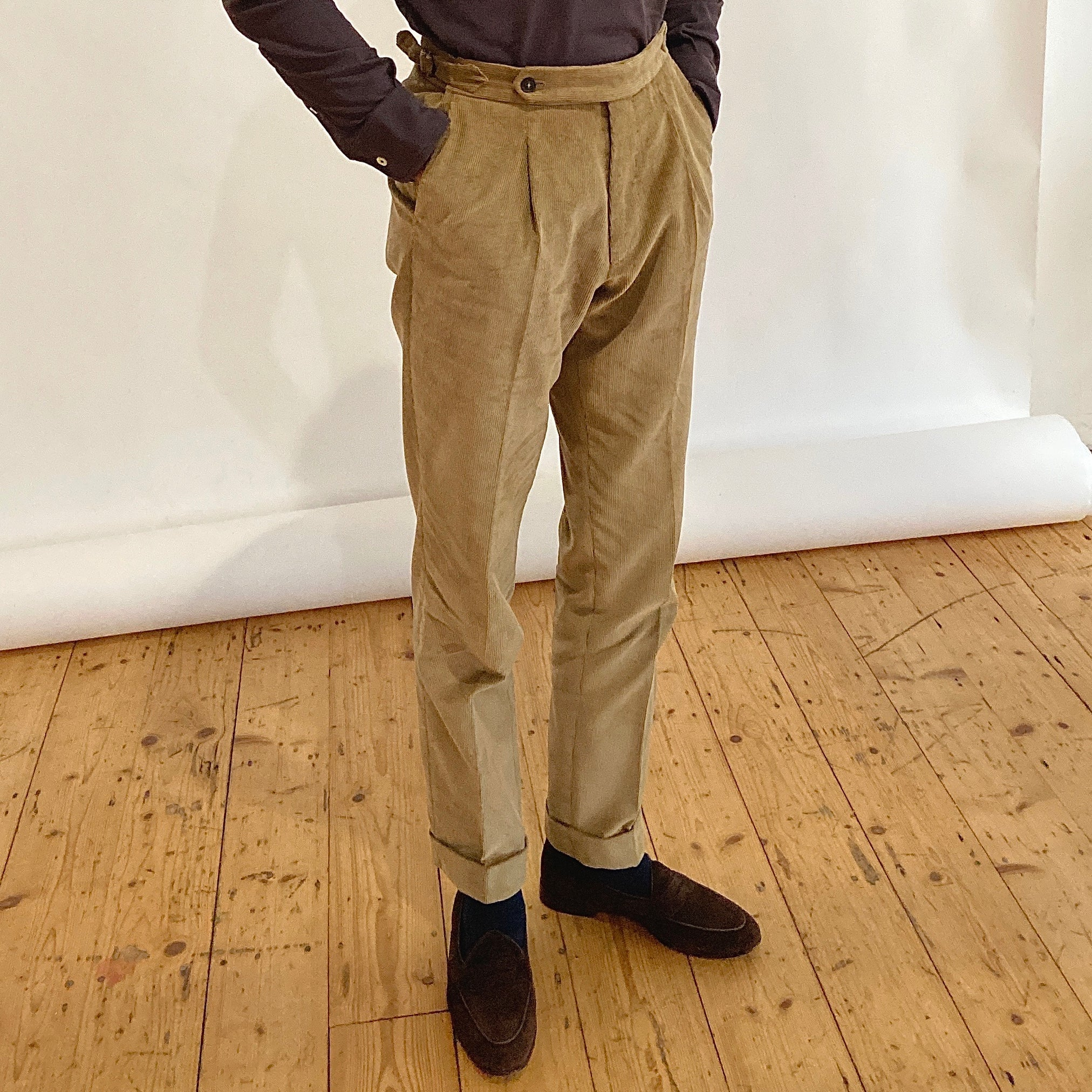 Single Pleat Trouser - Beige Corduroy