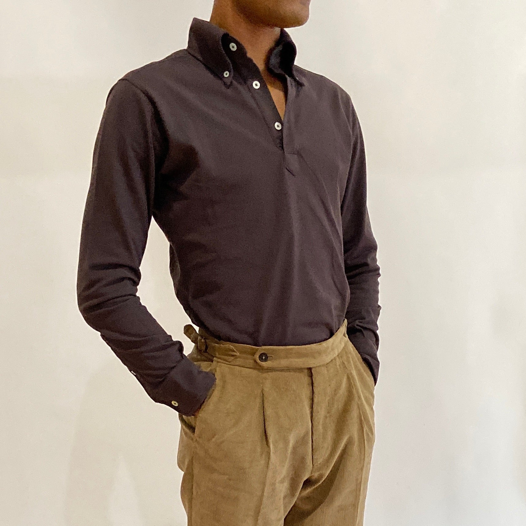 Long Sleeve Button Down Polo Shirt - Brown