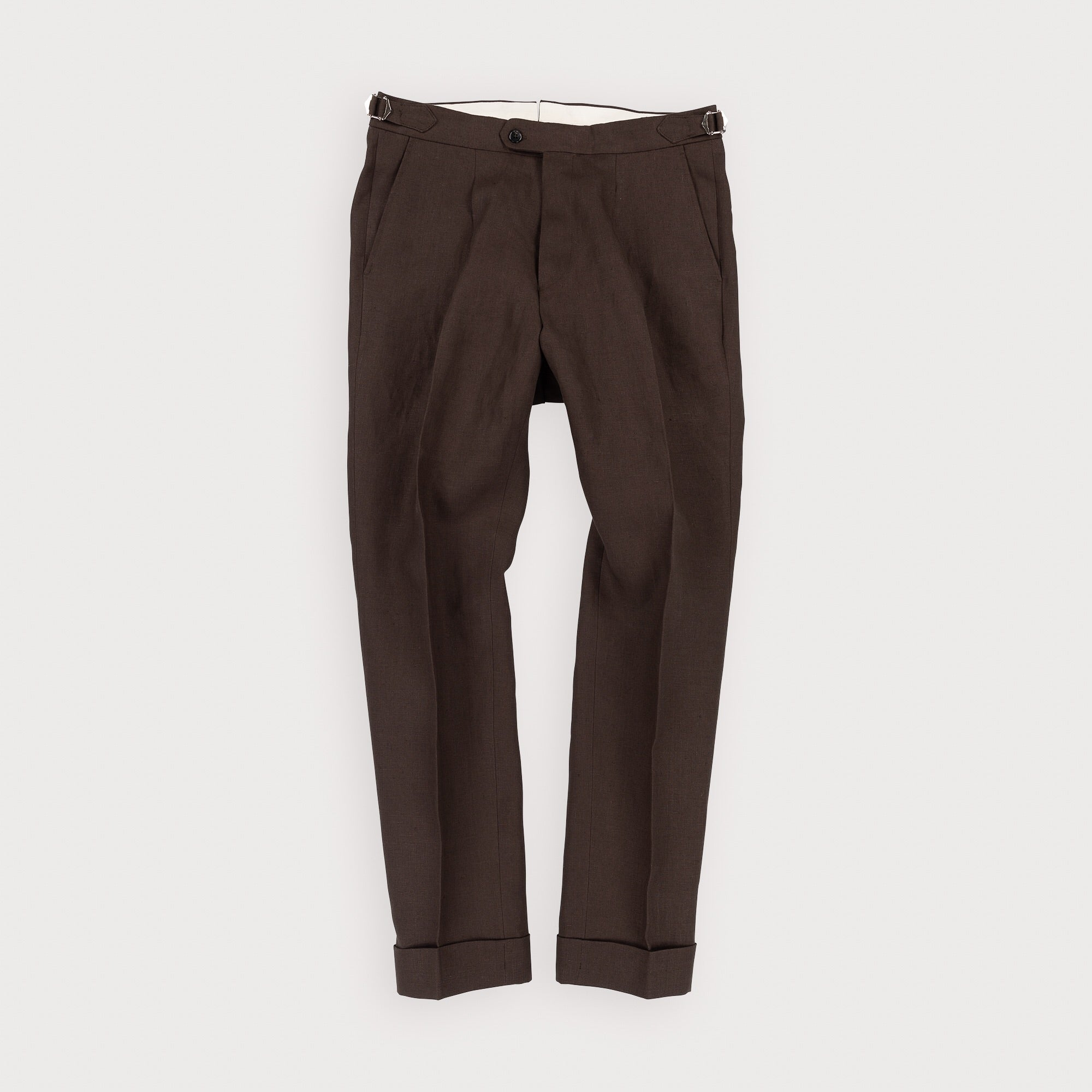 Single Pleat Trouser - Dark Brown Linen