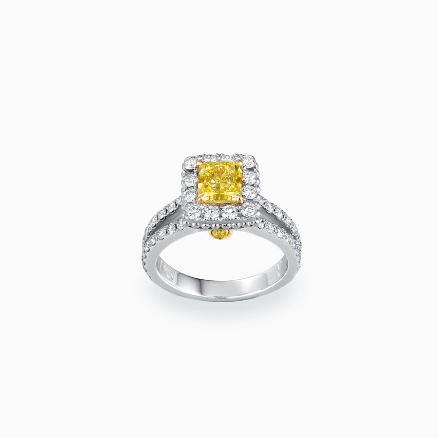 18K White & Yellow Gold Radian Cut Yellow Diamond Ring
