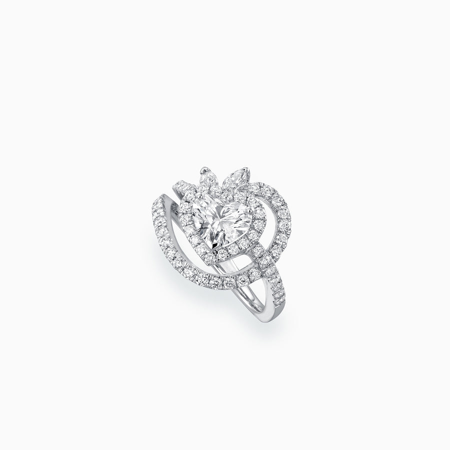 18K White Gold Heart Shaped Diamond Ring
