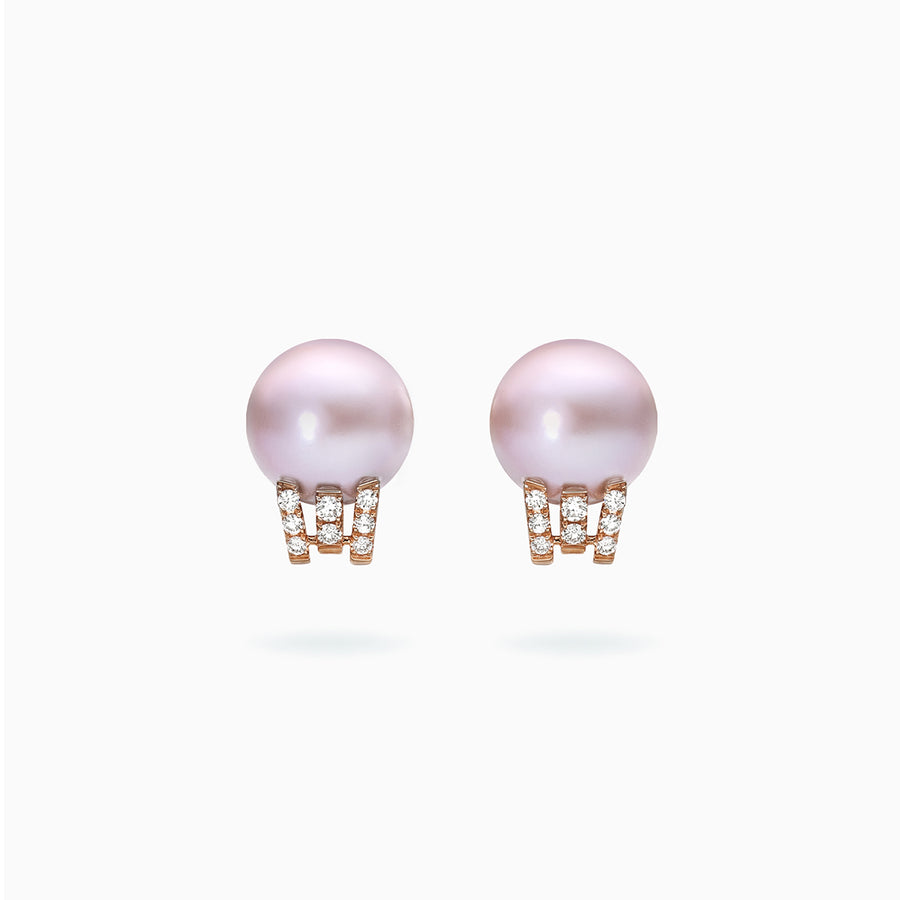 18K Rose & White Gold Pink Fresh Water Pearl Diamond Earrings
