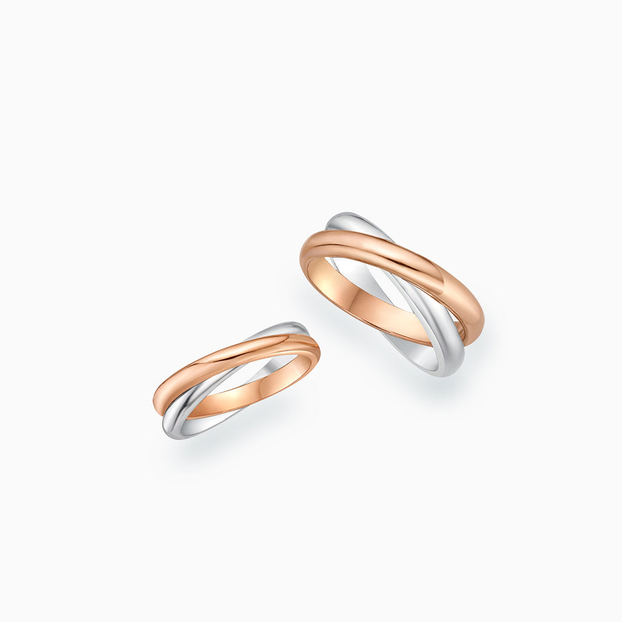 18K White & Rose Gold Wedding Bands