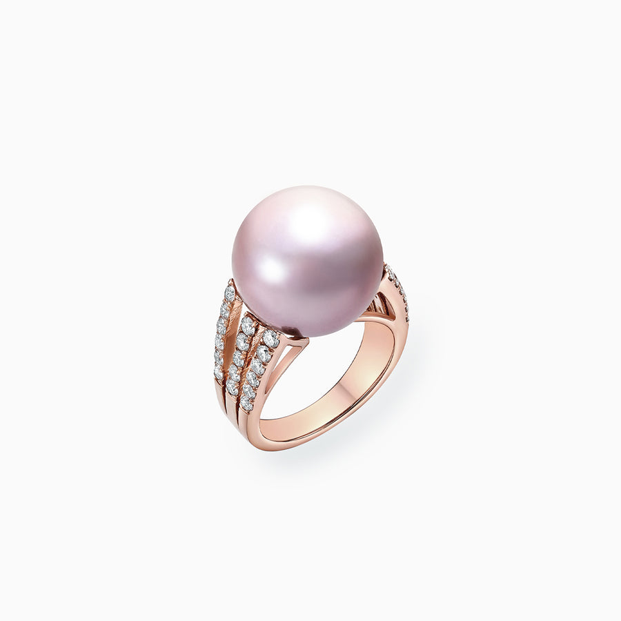 18K Rose Gold Pink Fresh Water Pearl Diamond Ring