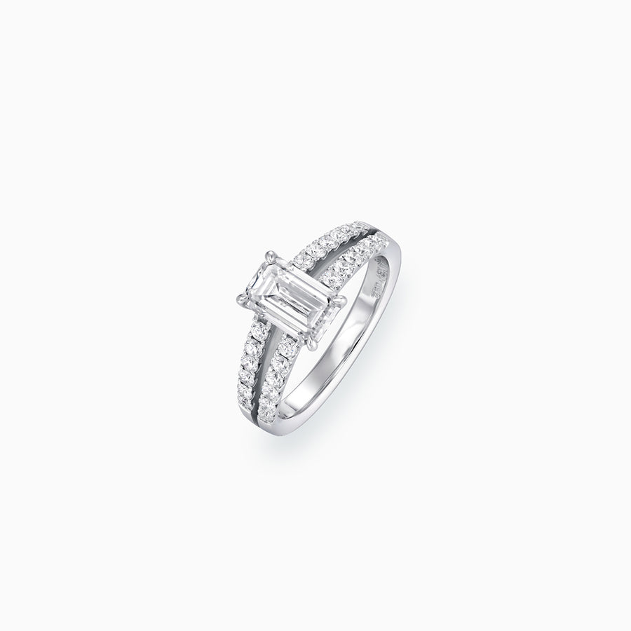 18K White Gold Emerald Cut Diamond Ring